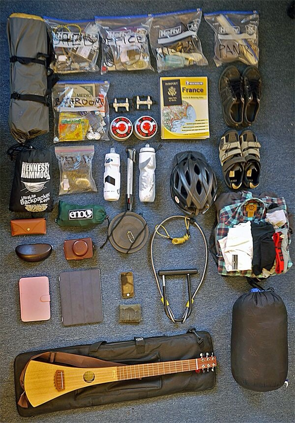 Full packing list for a bike tour.